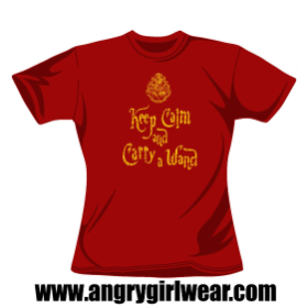 Keep Calm and Carry a Wand - Girlie Tee