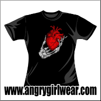 Skeleton Hand holding a heart - Fitted Girlie Tee